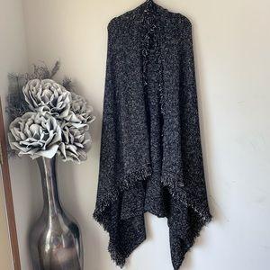 Zara | Knit Black/White Fringed Sweater Vest M